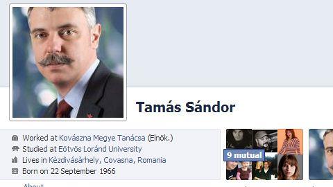 Tamás Sándor a fost amenințat pe Facebook