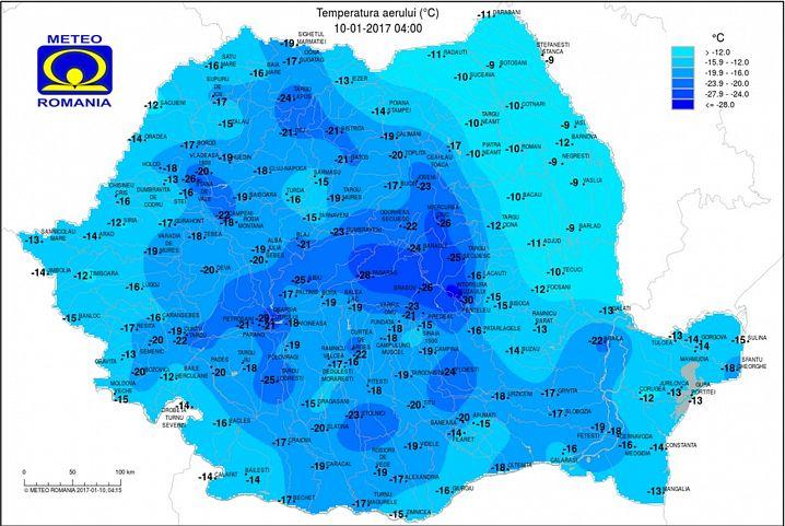 Harta temperaturilor. Sursa: ANM