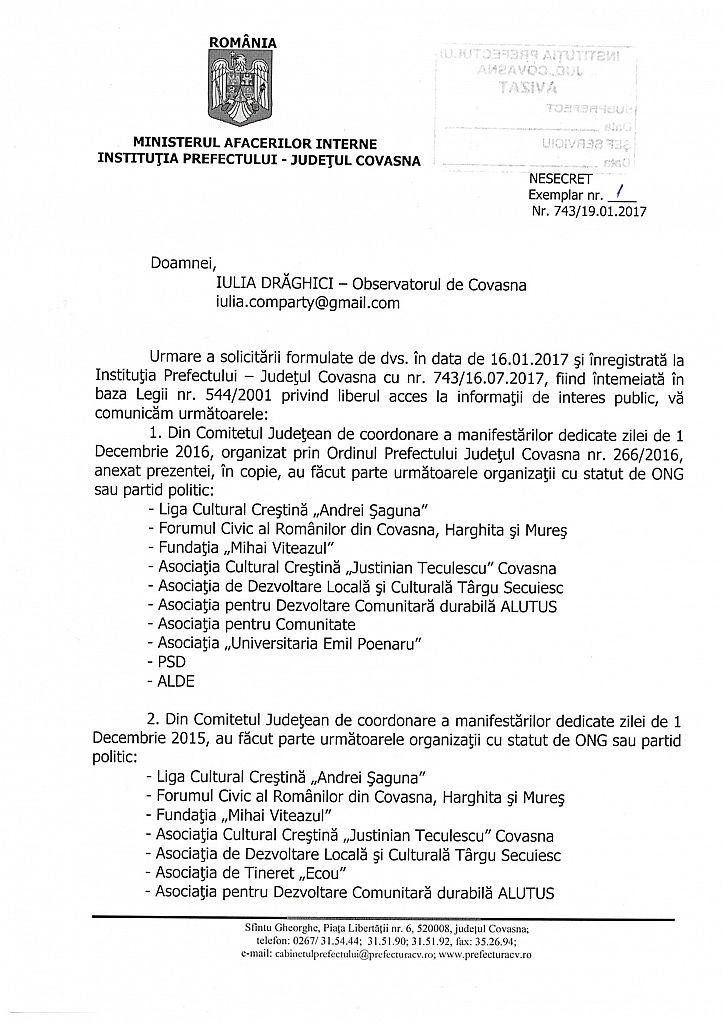 Raspunsul Prefecturii la solicitarea Observatorului de Covasna, pag 1